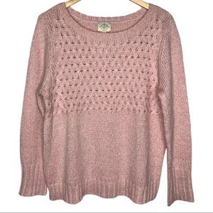 St. John's Bay Pink Cable Knit Sweater PXL